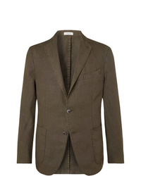 Boglioli Green K Jacket Slim Fit Unstructured Linen Suit Jacket