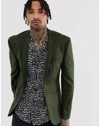 ASOS DESIGN Super Skinny Jersey Blazer In Khaki