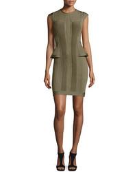 Herve Leger Open Back Peplum Bandage Dress Green
