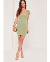 Missguided Square Neck Bodycon Mini Dress Green