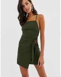 ASOS DESIGN Py Back Wrap Mini Dress With Tortoise Shell