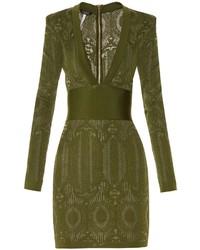 Balmain V Neck Lace Knit Dress
