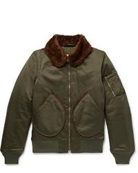 Monitaly B 15 Faux Shearling Trimmed Vancloth Cotton Sateen Bomber Jacket