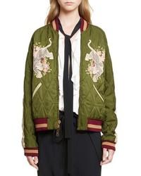 Chloé Chloe Reversible Embroidered Tech Satin Bomber Jacket