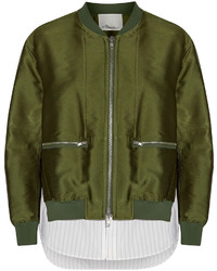 3.1 Phillip Lim Poplin Paneled Satin Twill Bomber Jacket