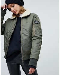 Schott Relaxed Flight Jacket With Faux Shearling Collar