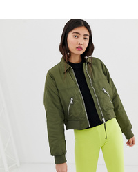 Monki Short Bomber Jacket With Oversized Pockets In Khaki