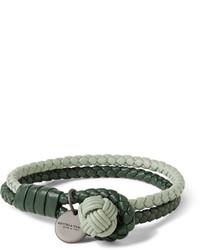 Bottega Veneta Two Tone Intrecciato Leather Wrap Bracelet