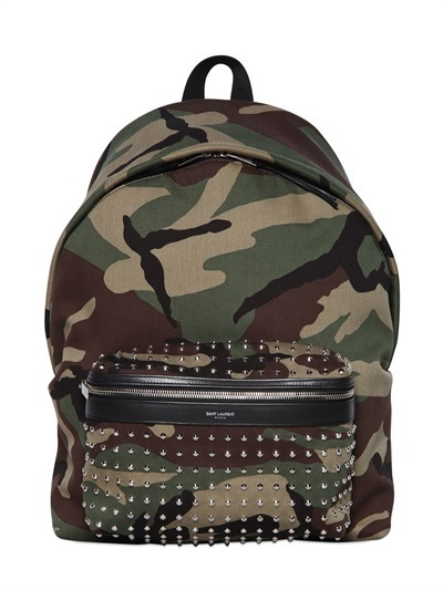 42dee02cbcd Saint Laurent Studded Camo Cotton Canvas Backpack