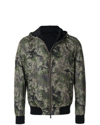 Herno Hooded Camouflage Bomber Jacket