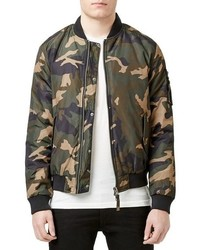 Topman Insulated Ma 1 Camo Bomber Jacket