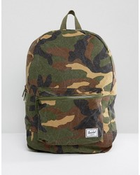 Herschel Supply Co Washed Cotton Camo Canvas Daypack Backpack