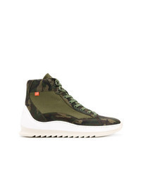 Olive Camouflage Canvas High Top Sneakers