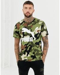 Puma Camo T Shirt In Green