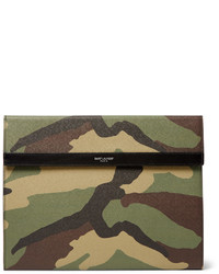 Olive Camouflage Leather Zip Pouch