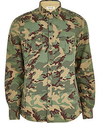 Olive Camouflage Long Sleeve Shirt
