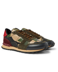 Valentino Garavani Rockrunner Camouflage Print Canvas Leather And Suede Sneakers