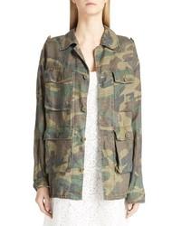 Saint Laurent Camo Print Oversized Cotton Jacket