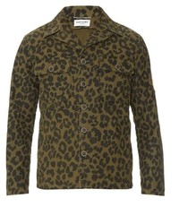 Saint Laurent Camouflage Leopard Print Field Jacket