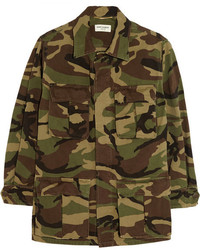Saint Laurent Camouflage Print Cotton Gabardine Jacket