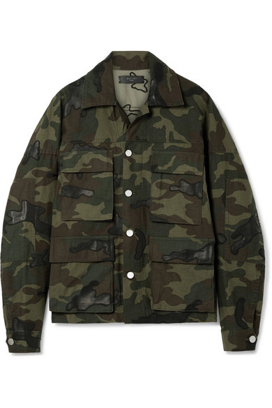 Amiri Leather Appliqued Camouflage Print Cotton Canvas Jacket