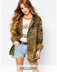 Reclaimed Vintage Oversized Military Festival Jacket In Camo