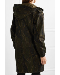 Saint Laurent Camouflage Print Cotton Blend Gabardine Parka