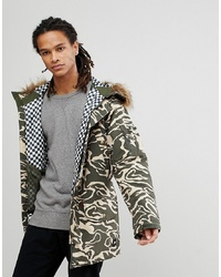 Analog Frazier Snowboard Insulated Parka With Detachable Faux Fur Hood In Camo