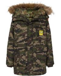 Brumal Hooded Faux Fur Trimmed Camouflage Print Shell Down Parka