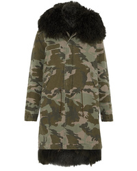 Mr & Mrs Italy Hooded Shearling Lined Printed Cotton Canvas Parka