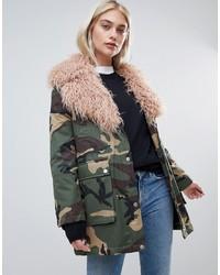 ASOS DESIGN Mongolian Faux Fur Camo Jacket
