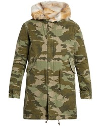 Mr Mrs Italy Fur Lined Camouflage Print Canvas Parka
