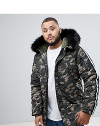 Sixth June Parka Coat In Camo With Black Faux Fur Hood To Asos