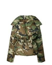 Olive Camouflage Puffer Jacket