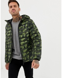 Pull&Bear Puffer Jacket With Hood In Camo
