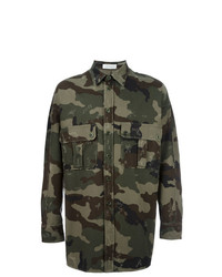 Faith Connexion Camouflage Print Shirt Jacket Green