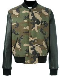 Off-White Camouflage Print Bomber Jacket