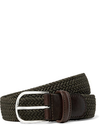 Andersons Andersons 35cm Green Leather Trimmed Woven Elastic Belt