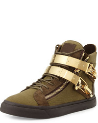 Olive Canvas High Top Sneakers