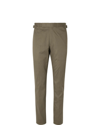 Richard James Army Green Stretch Cotton Twill Suit Trousers