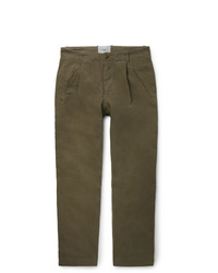 Folk Assembly Tapered Pleated Cotton Canvas Trousers