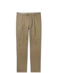 Caruso Beige Pleated Cotton Twill Trousers