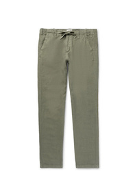 Hartford Troy Slim Fit Linen Chambray Drawstring Trousers