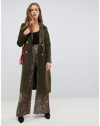 Missguided Military Coat In Green