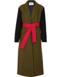 MSGM Wool Blend Felt And Ribbed Knit Coat