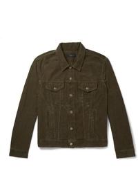 Alanui Slim Fit Intarsia Cashmere Panelled Cotton Corduroy Jacket