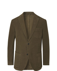 Altea Dark Green Slim Fit Cotton Blend Moleskin Suit Jacket