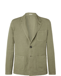 Massimo Alba Green Unstructured Linen And Cotton Blend Blazer