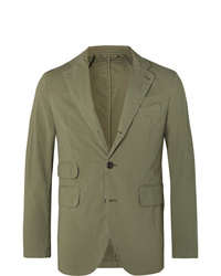 MAN 1924 Olive Kennedy Slim Fit Unstructured Stretch Cotton Suit Jacket