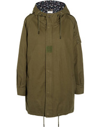Saint Laurent Hooded Cotton And Ramie Blend Gabardine Parka Army Green